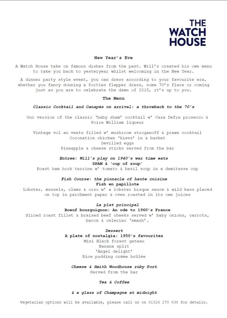 New Year Eve menu
